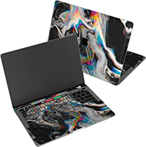 "Wonder Wild Skin for MacBook Decal Vinyl Air 11 inch Apple Mac 13 Retina 12 Pro 15 Keyboard 2019 2018 2017 2016 16"" Protective Sticker Laptop Glitch Art Abstract Black Holographic Paint Rainbow Flow"