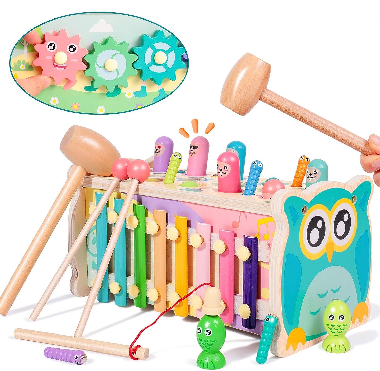 Rolimate golpeando Juguetes de hámster, Montessori Educativo temprano xilófono Juguete de Madera Juego de imán de Juguete de Pesca, cumpleaños para 3 4 5+ años Niños Niñas