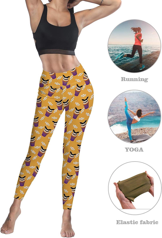 Monroda Womens High Waist Leggings Party Yoga Running Halloween Bat Cup Cake and Candy