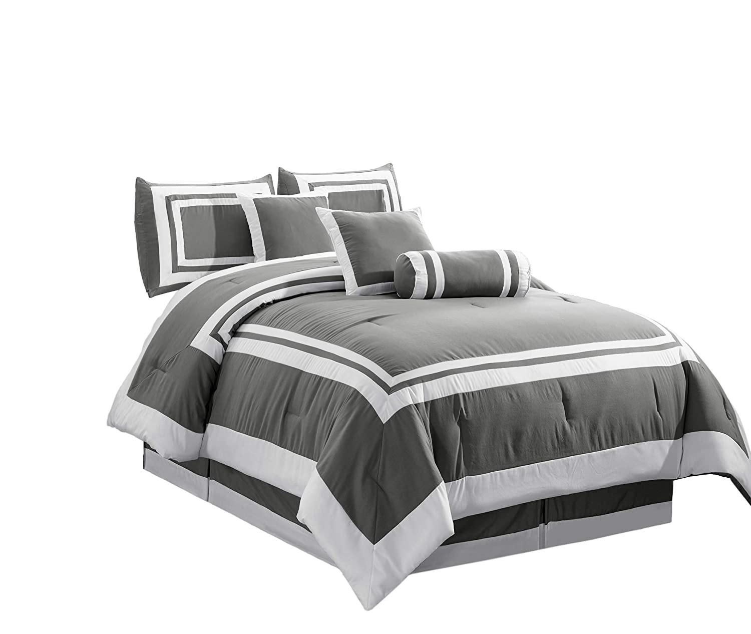 Chezmoi Collection 7 Pieces Caprice Gray/White Square Pattern Hotel Bedding Comforter Set (King, Gray/White)