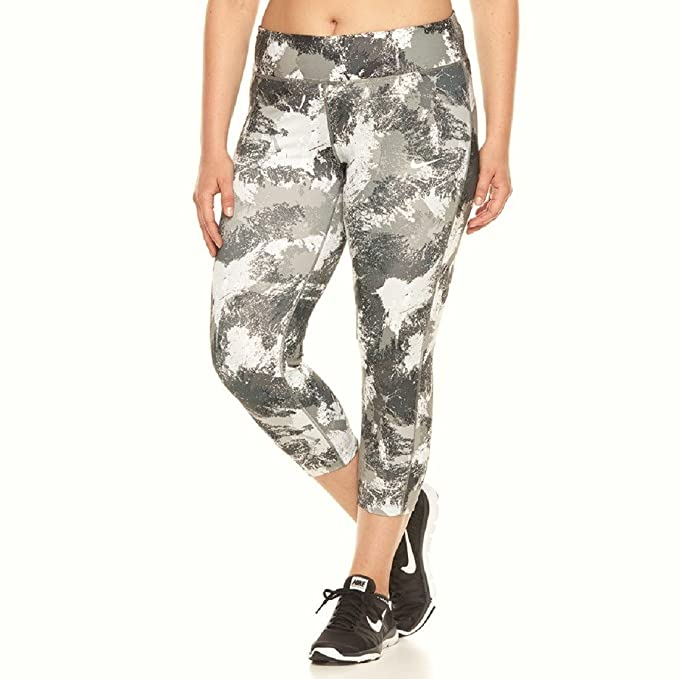 9b194f67545 NIKE Women s Pro Combat Hyperwarm Plus Size Tights White Black Tumbled Grey  878723-