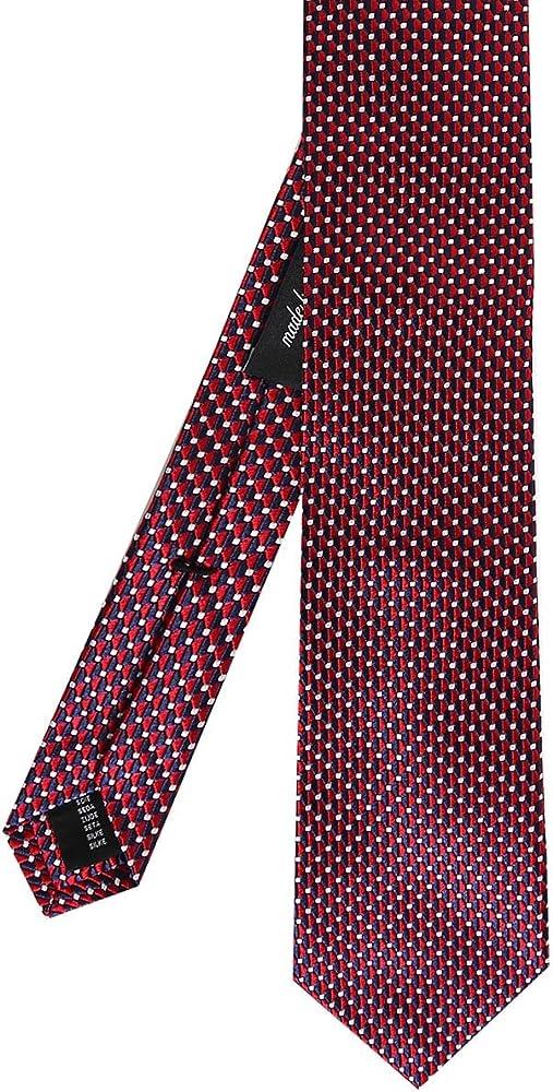 Ascot Accessories Hombres corbata de seda de estampado Rojo única ...