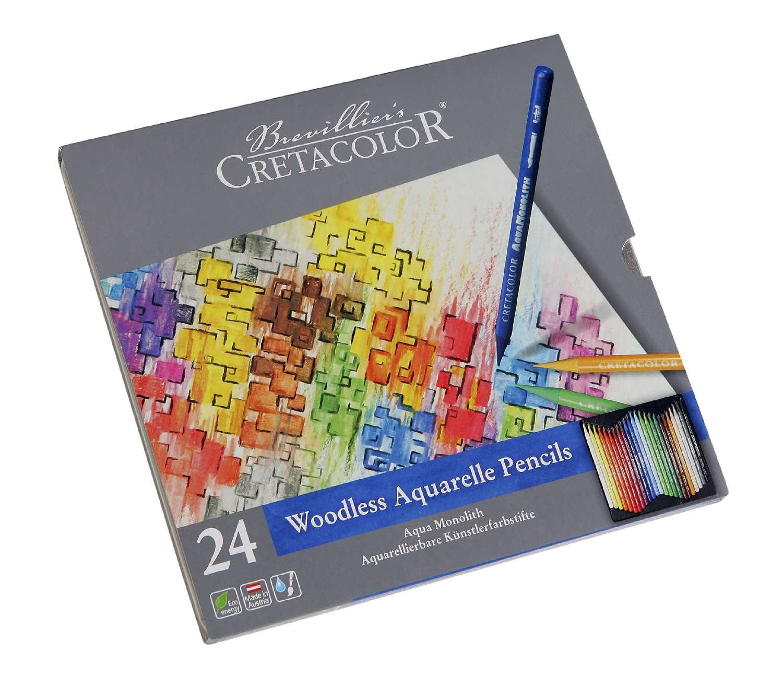 CRETACOLOR 250 12 Aqua Monolith Aquarellierbarer Vollminen-Kü nstlerstift 12 Farben