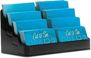 Source One 8 Pocket Desktop Clear & Black Acrylic Business Card Holder (1 Pack, Black)