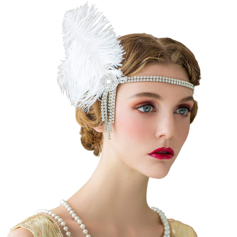 retro headdress Gatsby womens hair accessories peacock feather headdress gotyou 1920s flapper headband rhinestone flapper headdress great Gatsby party accessories prom//wedding//party accessories