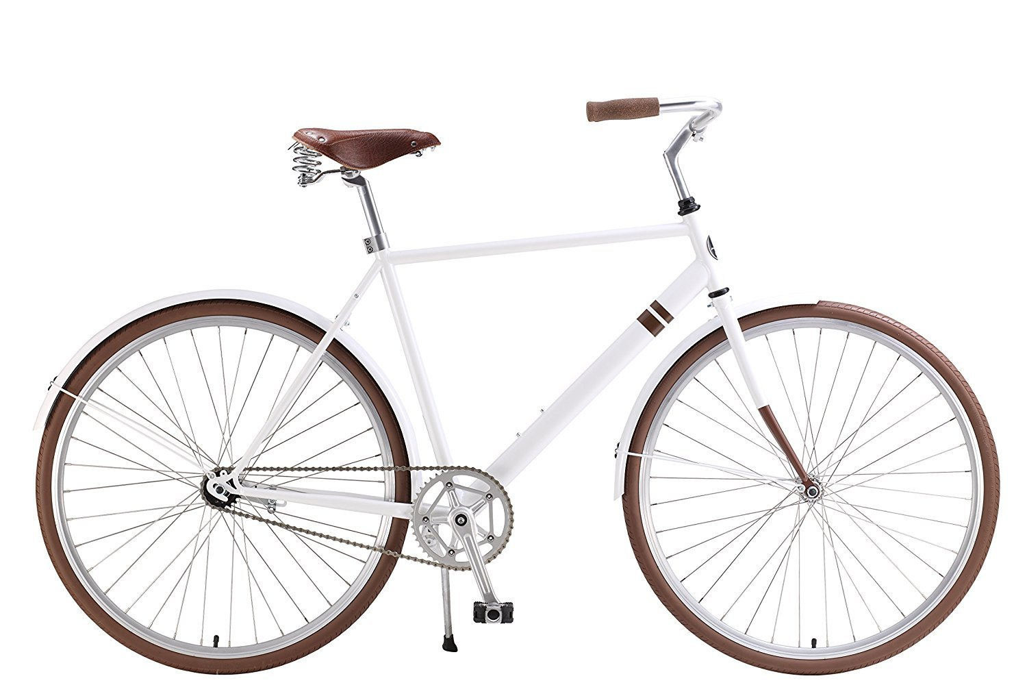 The Ayu City Cruiser by Sole Bicycles 58cm/X-Large White/Brown [並行輸入品] B075JZGNX1