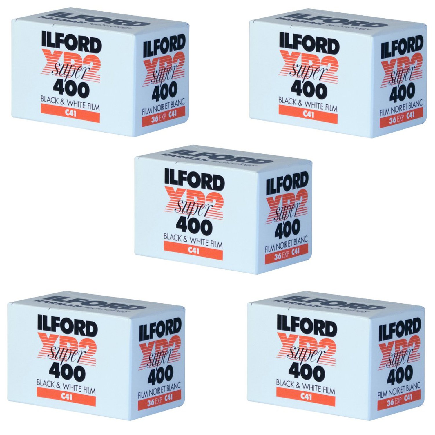 Pack of 5 Ilford XP-2 Super 400 135-36 Black & White Film by Ritz Camera