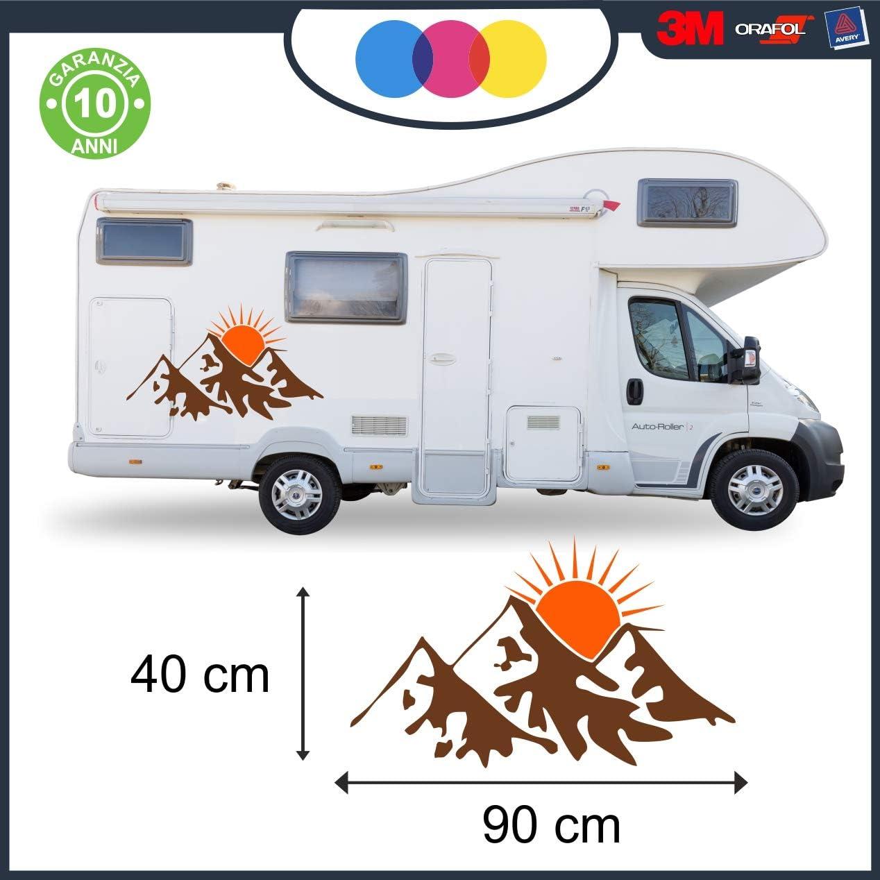 mural stickers Decacolmania Aufkleber für Wohnwagen, Motiv Landschaft  Sonnenuntergang – Aufkleber für Wohnwagen Caravan Komplett-Set aus