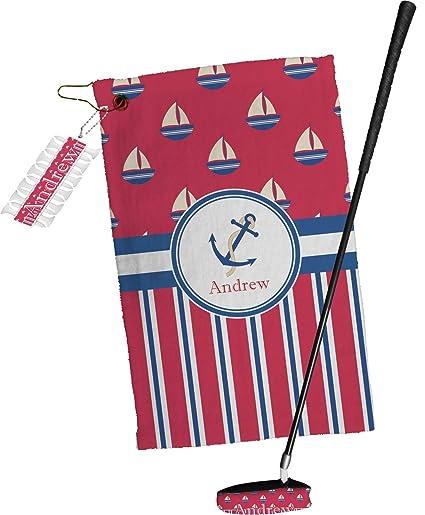 Sail barcos y rayas toalla de Golf Set de regalo (personalizado)