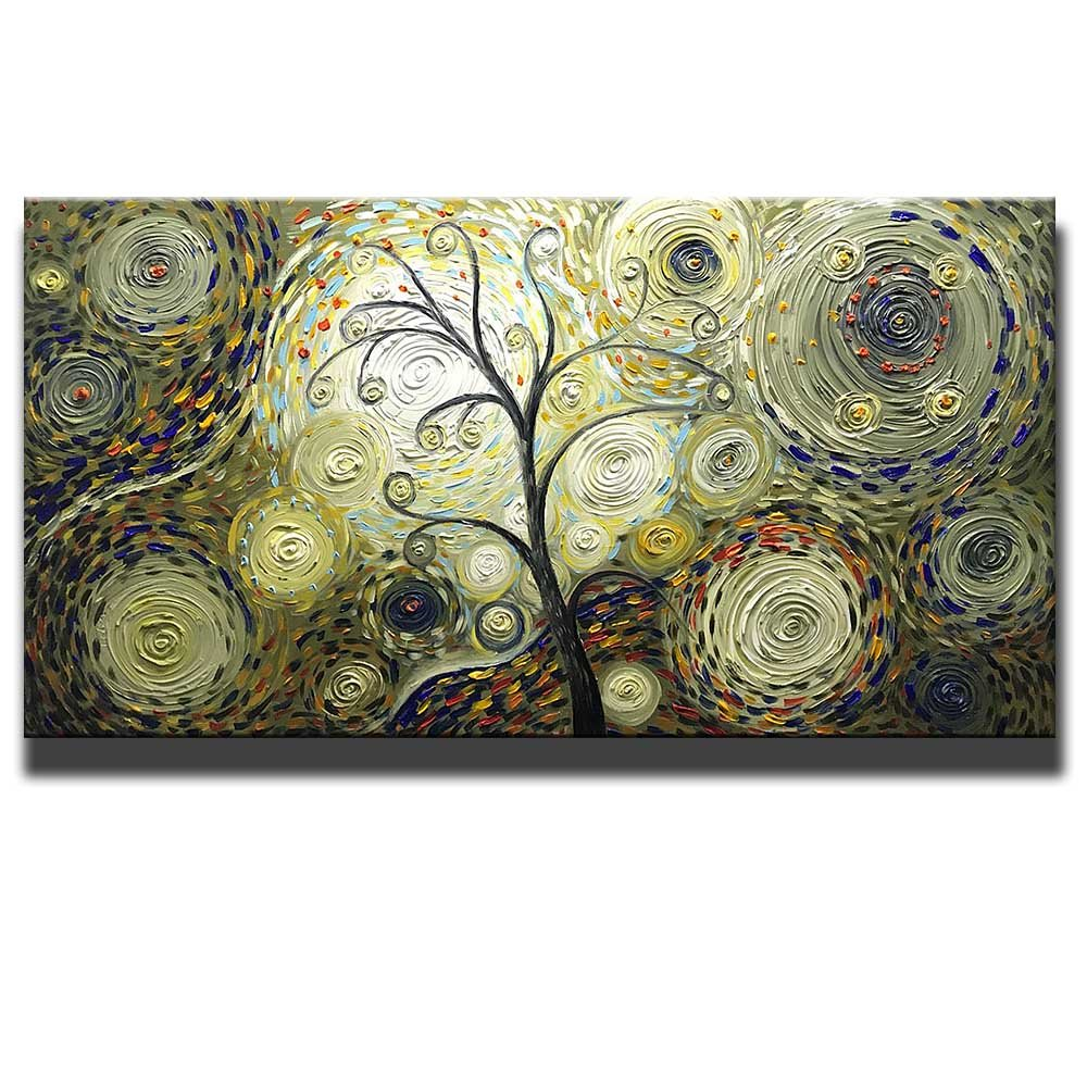 Asdam Art - Vintage Hand Painted 3D Paintings On Canvas Tree Artwork Abstract Wall Art For Living Room Bedroom Dinningroom Pictures Gold Brwon (24x48inch) by Asdam Art