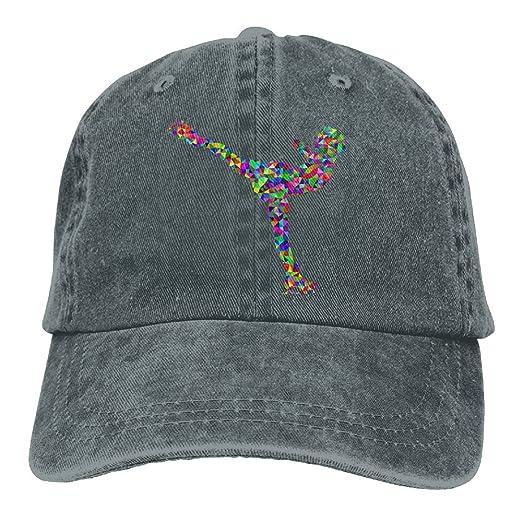 Amazon.com  YUA85FSW Neutral Prismatic Low Poly Ice Skating Woman Hat  Cotton Denim Fabric Hat Designed Cowboy Hat  Clothing 7a8a885982c