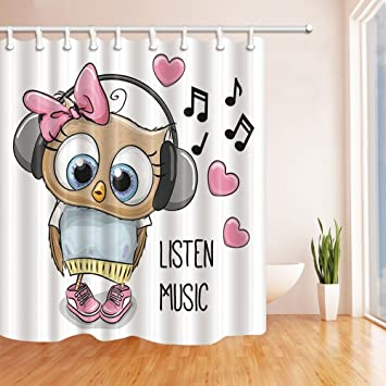 NYMB 3D Digital Printing Animals Shower Curtain, Owl Listen To Music With  Headphones, Mildew