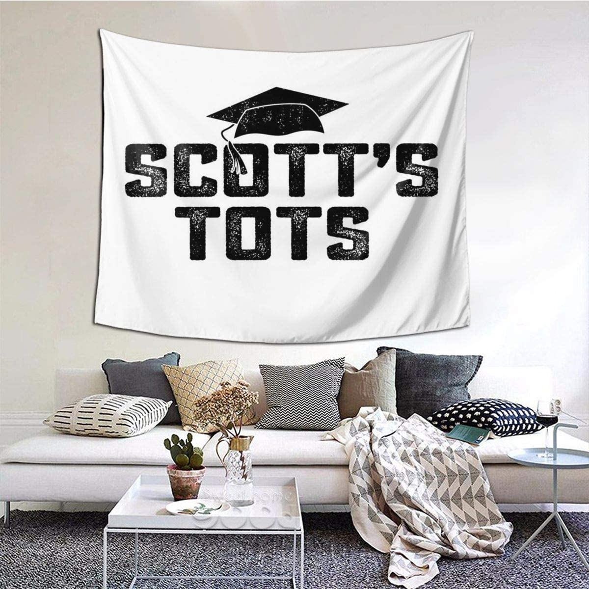 Scotts Tots Michael Scott The Office NBC Tv Show Funny Gift Living Room Home Art Decor Tapestry Bedroom Dorm Wall Hanging 60 X 51 Inch