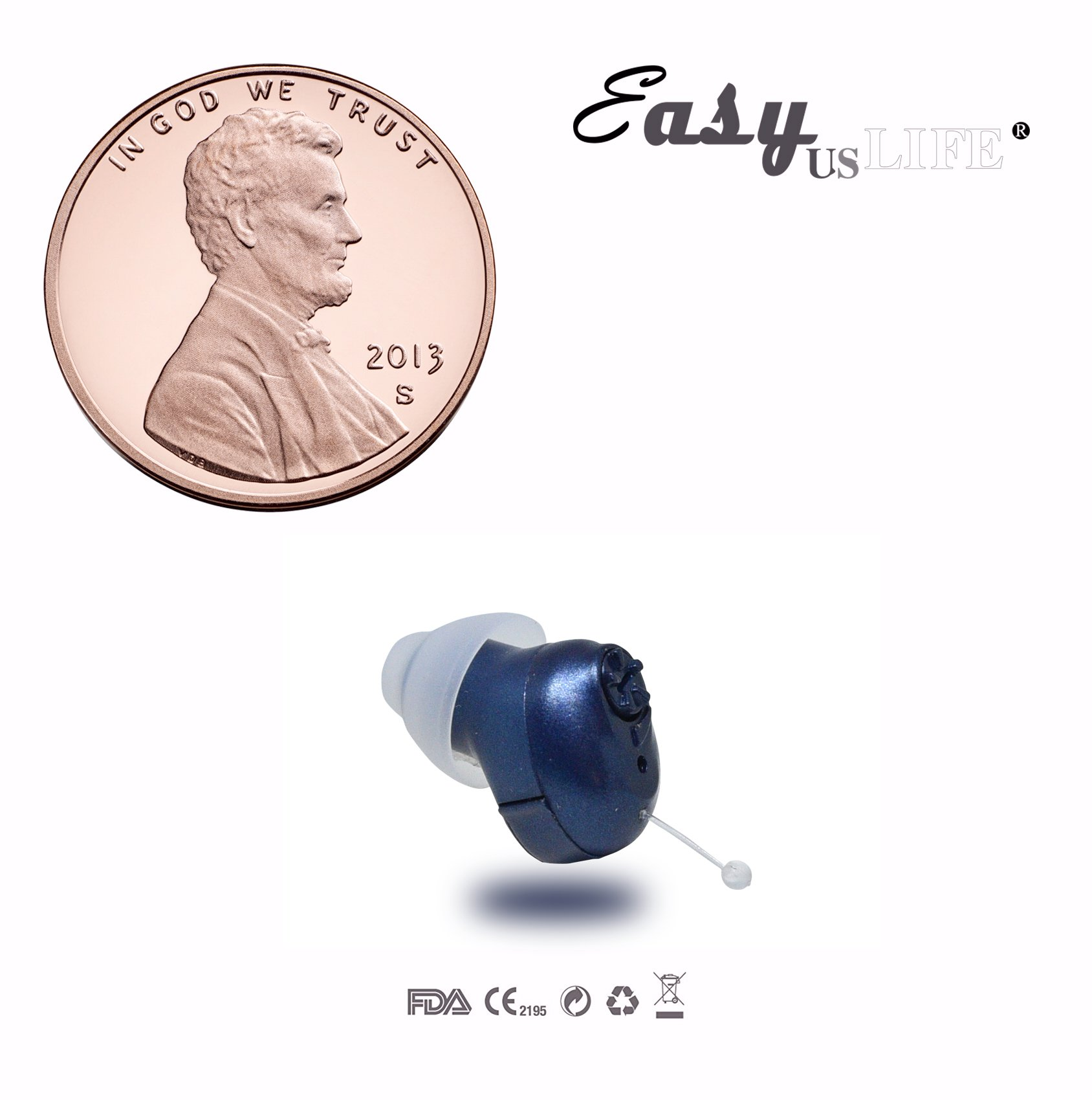 Super Mini,Dark Blue,in-The-Canal (ITC), New Digital Hearing Amplifier, Clearly Technology, Interchangeable, Suitable for Men and Women, Trademark: Easyuslife