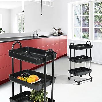 Carro de servicio de Fanilife, carro de comedor de almacenamiento rodante, carro de cocina móvil de 3 pisos, ideal para hotel, jardín: Amazon.es: Hogar