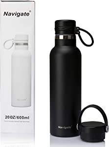 NAVIGATE Sports Stainless Steel Water Bottle with 2 Lids, Wide Mouth, Premium Double Walled Vacuum Insulated Water Flask Travel Mug |Keep Liquid Cold Or Hot,20 oz(600 ml)