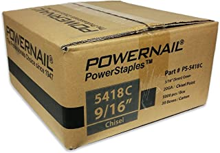 """product image for Powernail 20ga Chisel Point Staple. 3/16""""crown x 9/16""""long. Case of 20 boxes (5000ct per box)"""