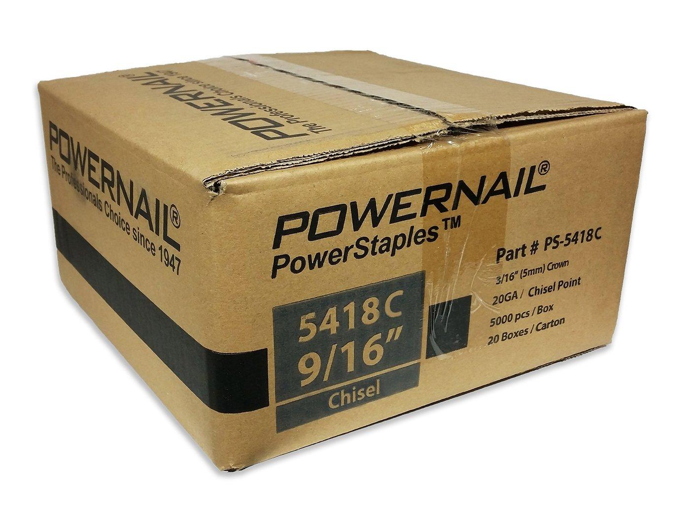 Powernail 20ga Chisel Point Staple. 3/16''crown x 9/16''long. Case of 20 boxes (5000ct per box)