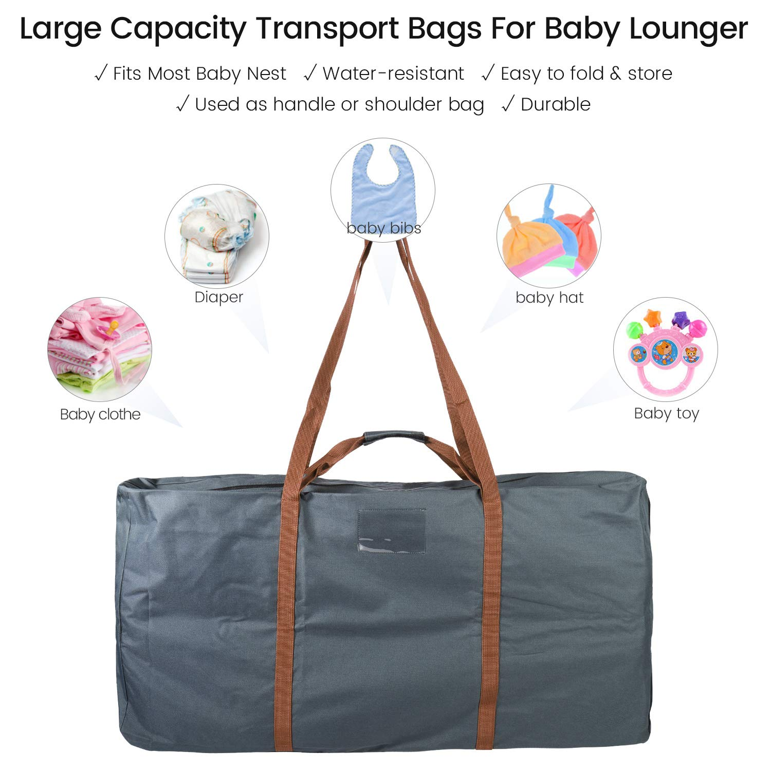 Large Capacity Portable Storage Bag for Newborn Lounge,31.5x 20 Water-Resistant Transport Bags for Baby Lounger Grey