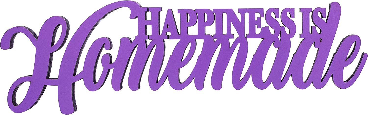 Boxer Gifts Chatterwall Happiness is Homemade' Hanging Inspirational Quote Wooden Wall Plaque Laser Cut Wood | Beautiful Home Decor | 23cm x 18cm, One, Purple
