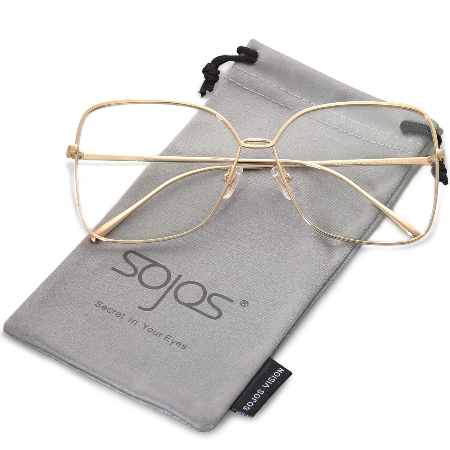 SOJOS Square Oversized Clear lens Computer Glasses Eyewear Frame SJ1082 with Gold Frame/Clear Lens