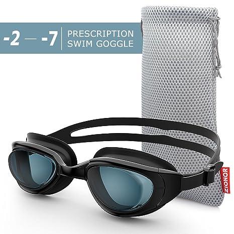 d58d890335d1 Zionor RX Prescription Swim Goggles, Optical Corrective Swimming Goggles  Leakproof Anti-Fog UV Protection