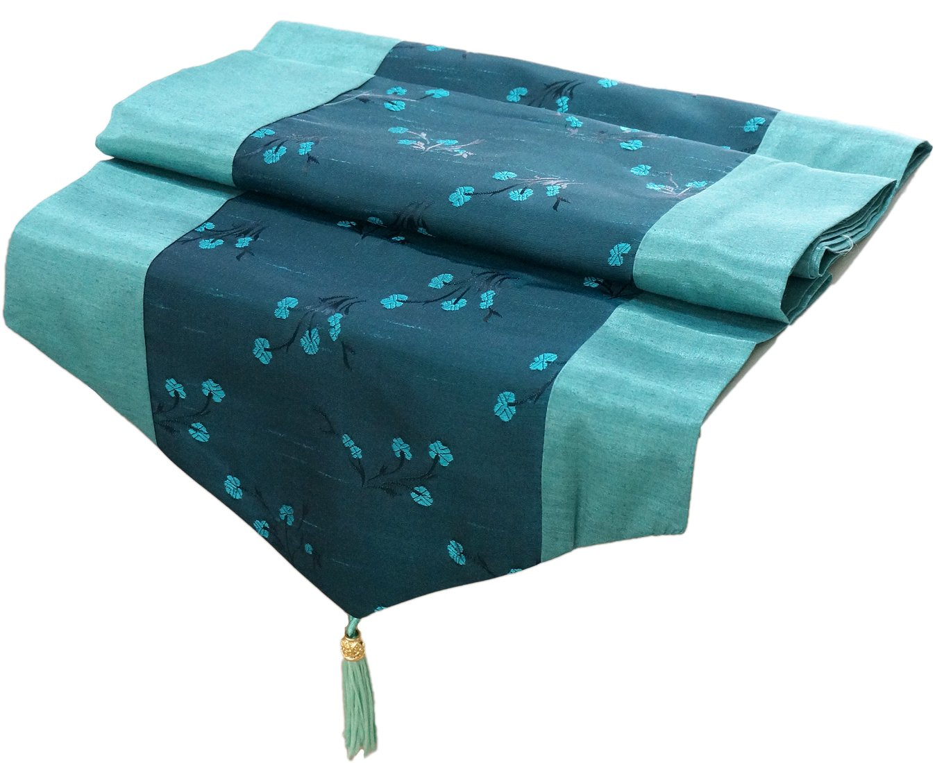 Amazon.com: Artiwa Teal Turquoise Silk Decorative Table Runner / Bed Runner  Scarf 14 X 64 Inch With Green Floral: Kitchen U0026 Dining