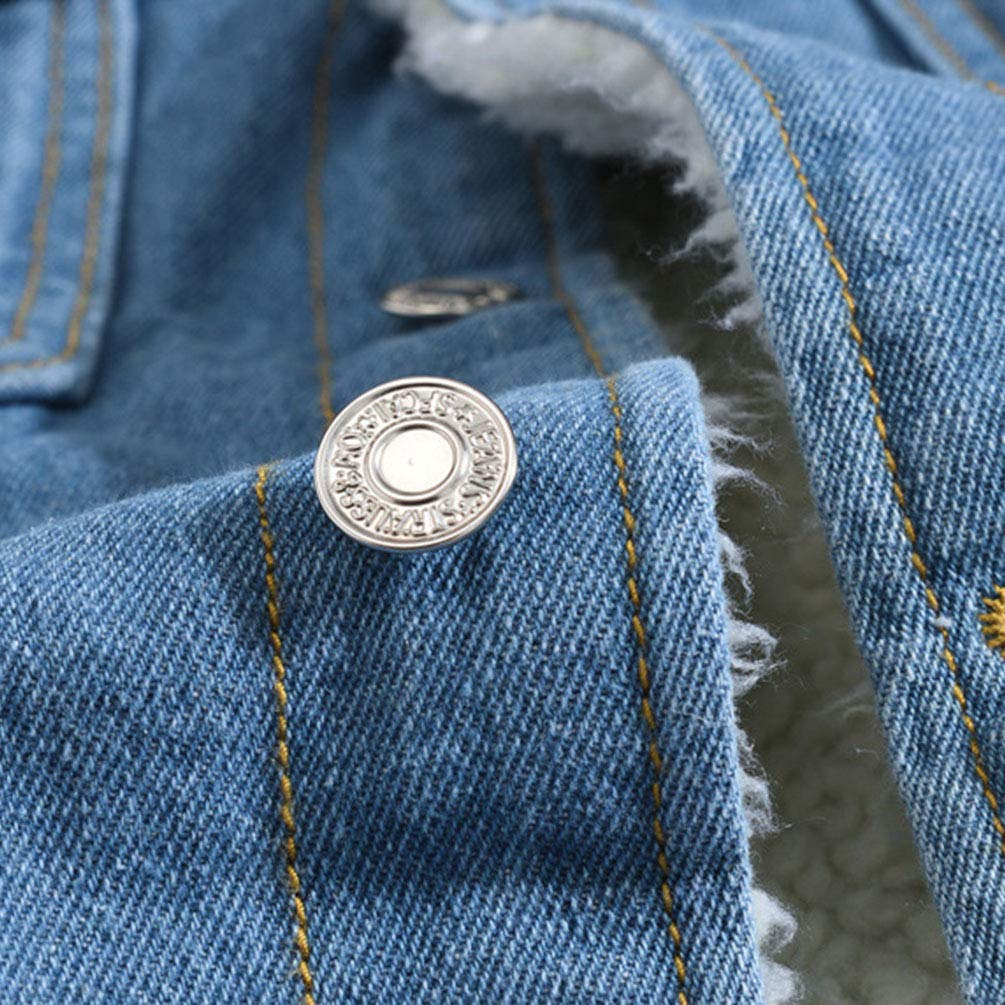 Yiiquanan Giacca in Denim da Uomo Invernali e Autunno Manica Lunga Casual Jacket Giacche di Jeans