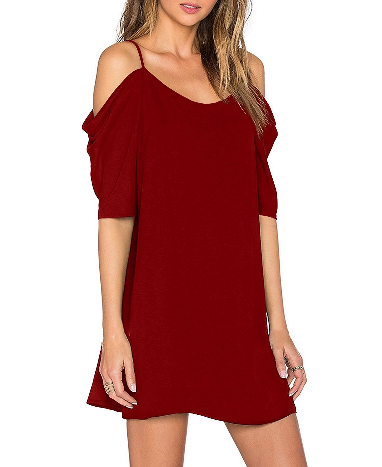 LYXIOF Women's Chiffon Dresses Cut Out Cold Shoulder Trumpet Sleeve Spaghetti Strap Dress Tops Red 2XL