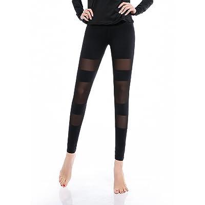 Maks Girls Junior Women's Black with Horizontal mesh Inserts Compression Tights Yoga Pants Leggings