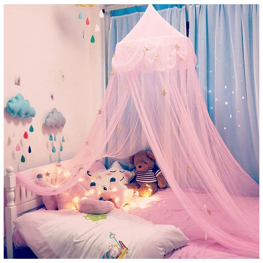 Hidecor Mosquito Net Canopy Bed Curtains Dome Princess Stars Bed Tent for Girls Kids, Indoor Game House(Pink)
