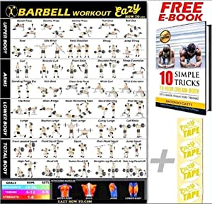 """Barbell Weight Lifting Bar Exercise Workout Banner Poster BIG 28 X 20"""" Train Endurance, Tone, Build Strength & Muscle Home Gym Chart"""