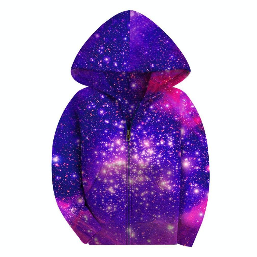 SAYM Big Girls' Youth Galaxy Teen Fleece Full Zip Jackets Pullover Hoodies NO17 S