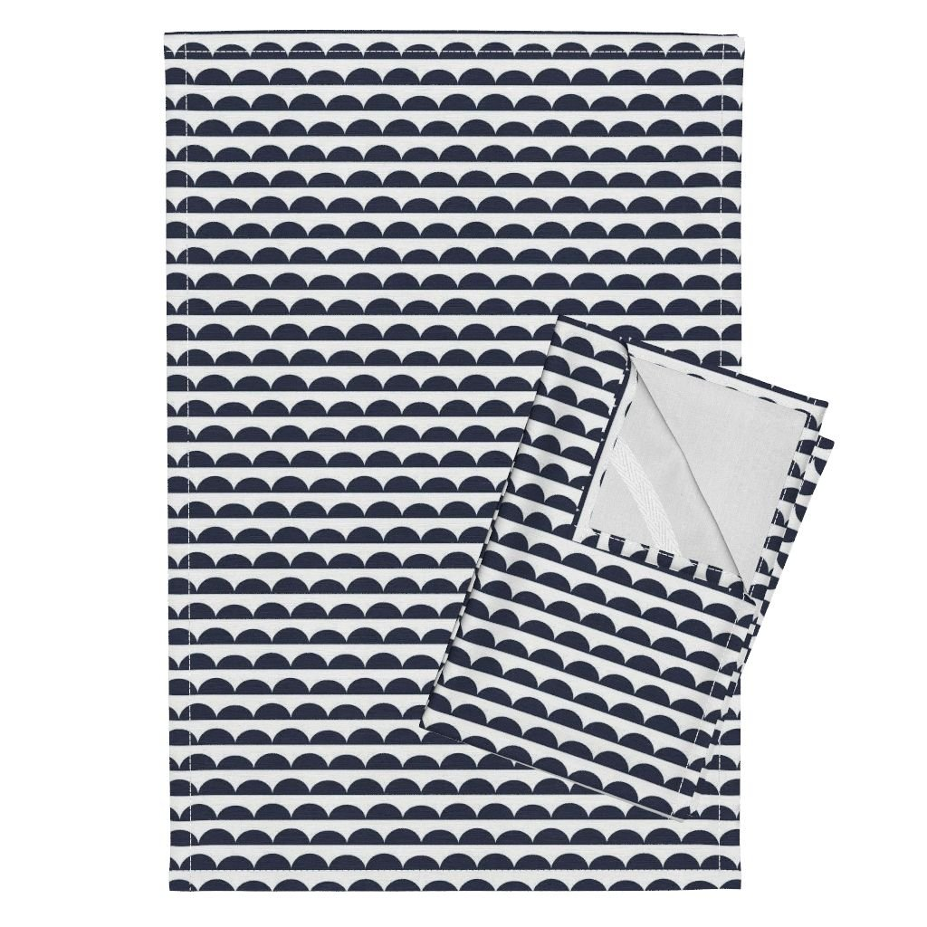 Roostery Briar Woods Scallops Navy Bumps Tea Towels Scallops Navy by Littlearrowdesign Set of 2 Linen Cotton Tea Towels by Roostery (Image #1)