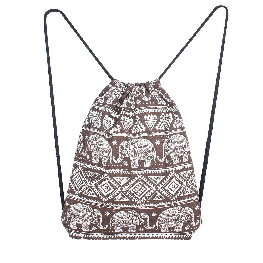 BOLUOYI Cool Backpacks for Teen Girls in Middle School Women Solid Elephant Printing High Capacity Bucket Bag Backpack Shoulder Bag BW