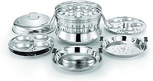 Alisha eKitchen Italia Stainless Steel All in One Idli Cooker/3 Idli Plates/1 Dhokla Plate/1 Steamer Plate (Silver, 13 Idlies)