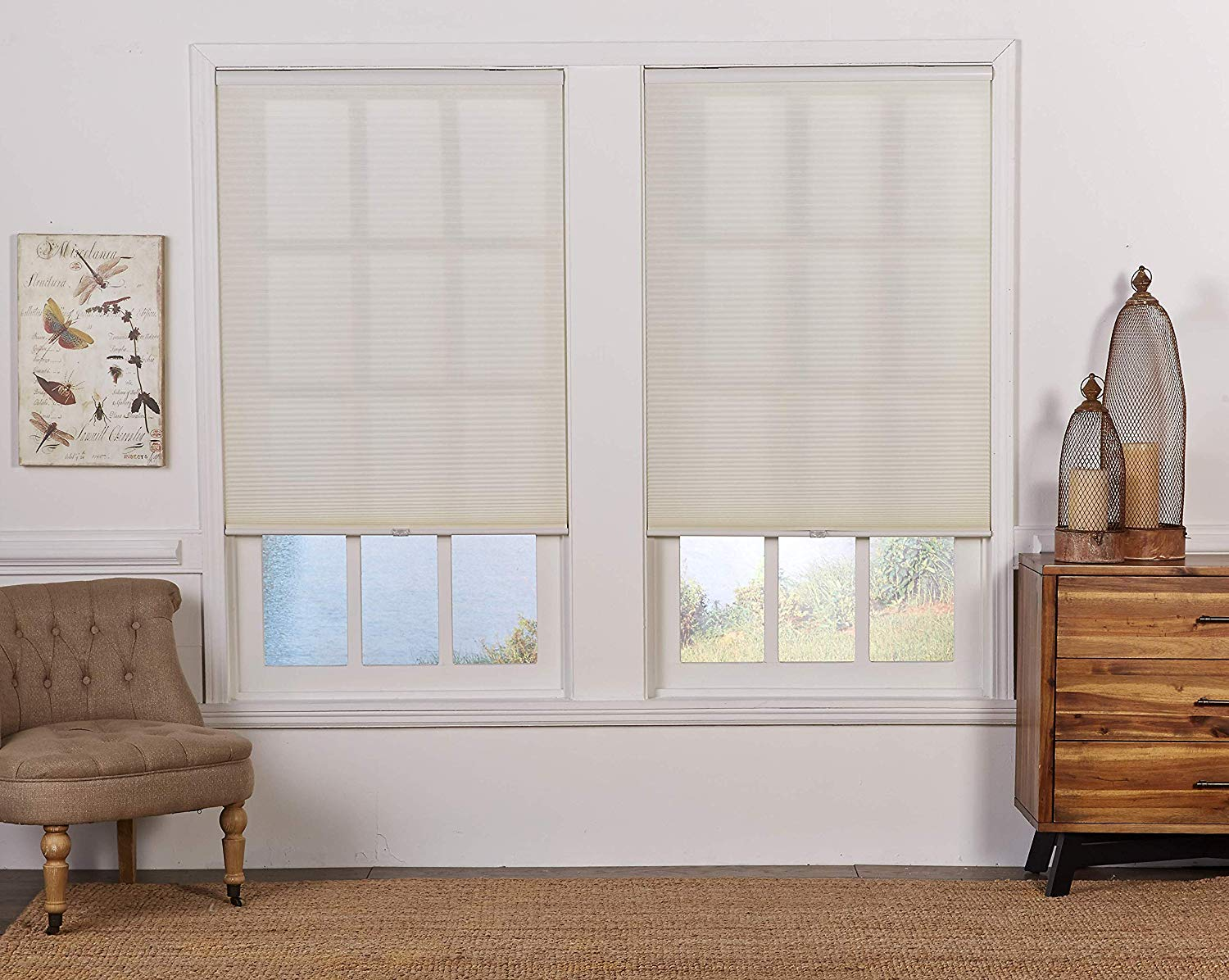 DEZ Furnishings QCCR514480 Cordless Light Filtering Cellular Shade Cream 51.5W x 48H Inches