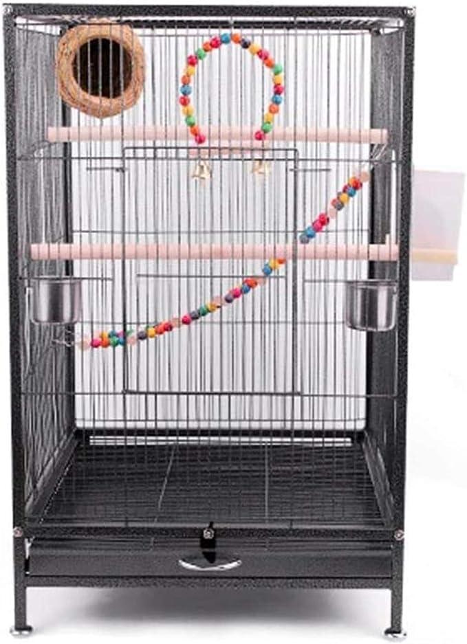 Jaula dpájaros duradera y ecológica, Jaula de pájaros 75 cm Extra grande jaula de pájaros de metal jaula de aves de viaje para cacatúa / loro / lovebird / pájaro de pájaros aviar con pájaro de pájaros