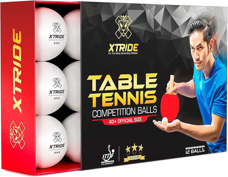 Xtride Pelotas de Ping Pong Tenis de Mesa Profesionales [Aprobadas por ITTF] (Pack 12 Pelotas) 3 Estrellas 40+