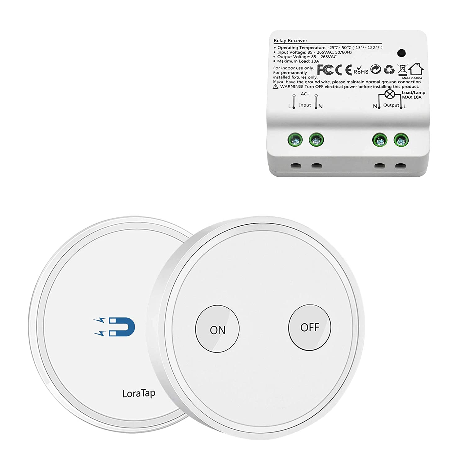 Loratap Wireless Lights Switch Kit 915mhz 656ft Range Remote Light Fixture Ground Wire Install Wiring Control Lamps Ceiling Fan Household Appliances 5 Years Warranty And Receiver