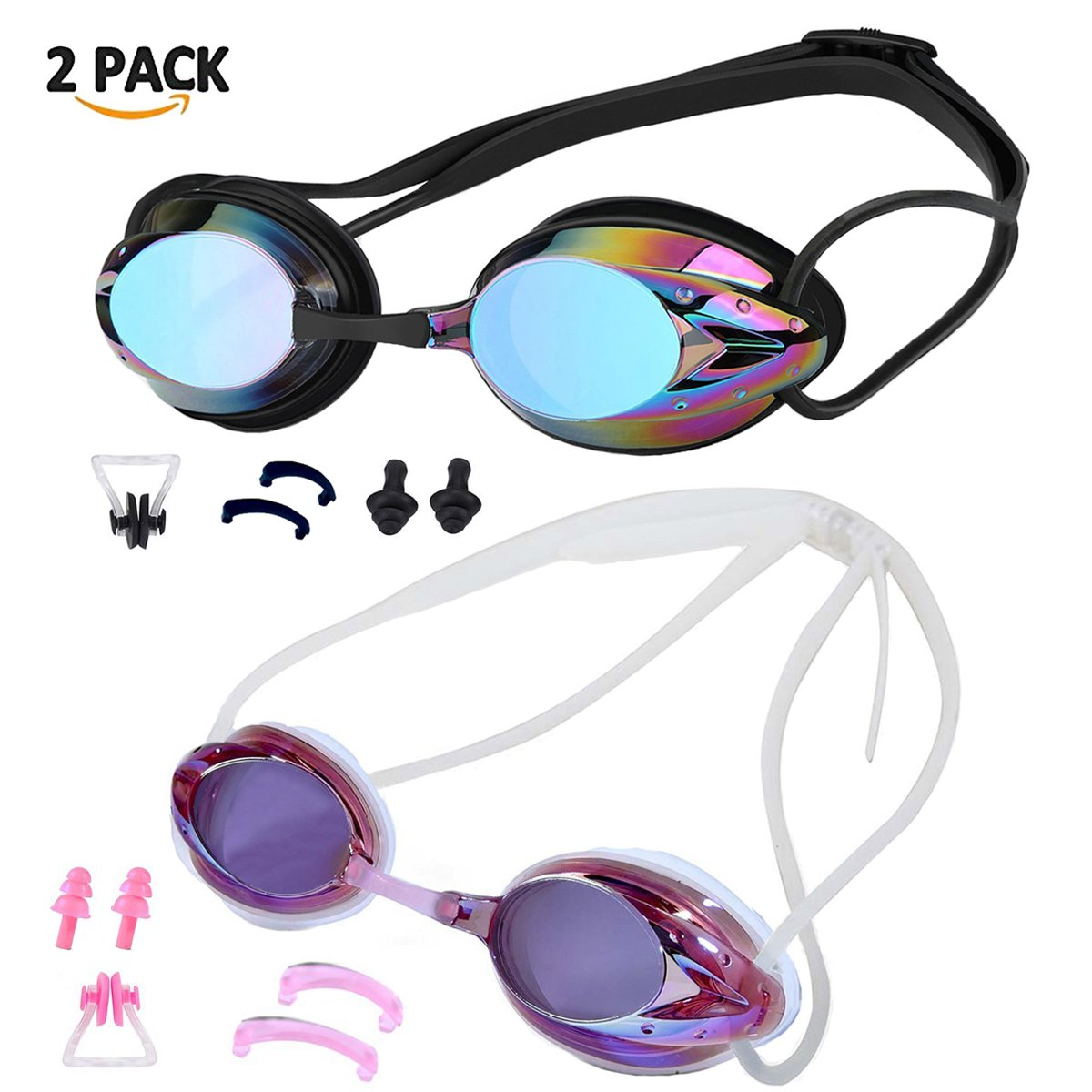 ZIMINGU No Leakage Protection with UV Anti-fog Swim Goggle, Swimming Goggles, Pack of 2 Adult Nose Clip Silicone Earplugs Water Glasses with Free Case Cover For Men Women Children ZIMINGU Swim Goggles