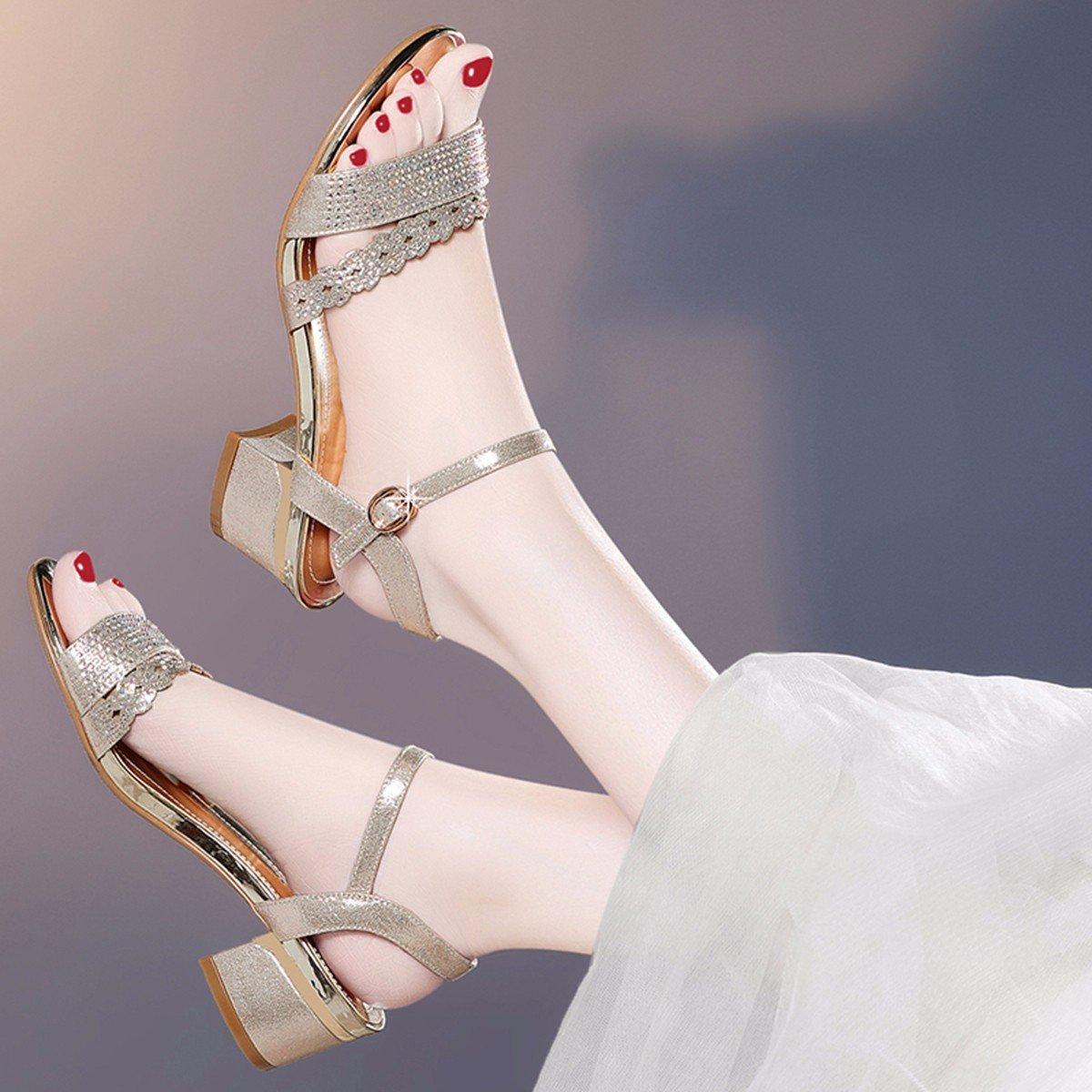 JRFBA-Schuhe Sommer - Koreanische Edition mit Dick und und und Bequem Sexy Hochhackigen Sandalen Damenschuhe  25de14