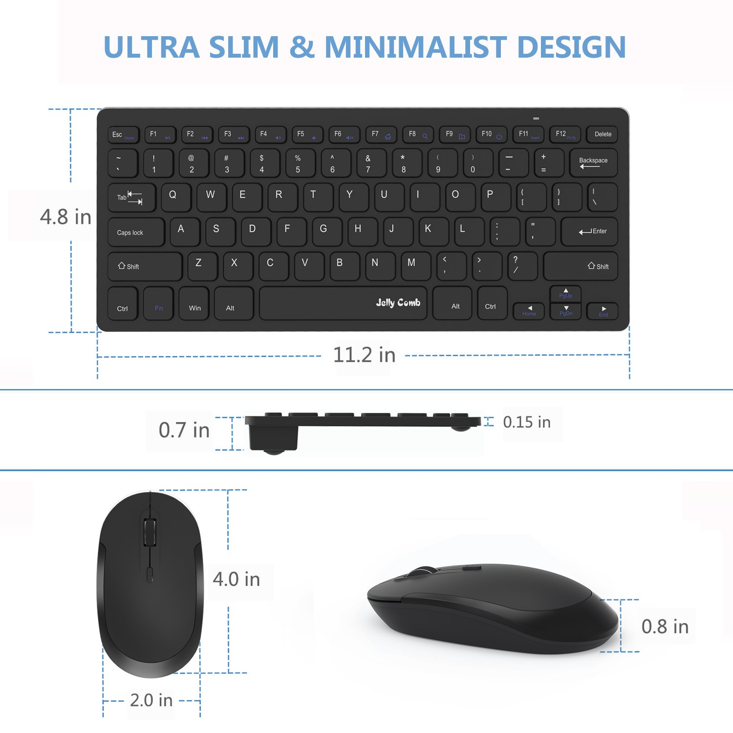Wireless Keyboard Mouse, Jelly Comb 2.4GHz Ultra Thin Compact Portable SMALL Wireless Keyboard and Mouse Combo Set for PC, Desktop, Computer, Notebook, Laptop, Windows XP/Vista / 7/8 / 10 - Black by Jelly Comb (Image #3)