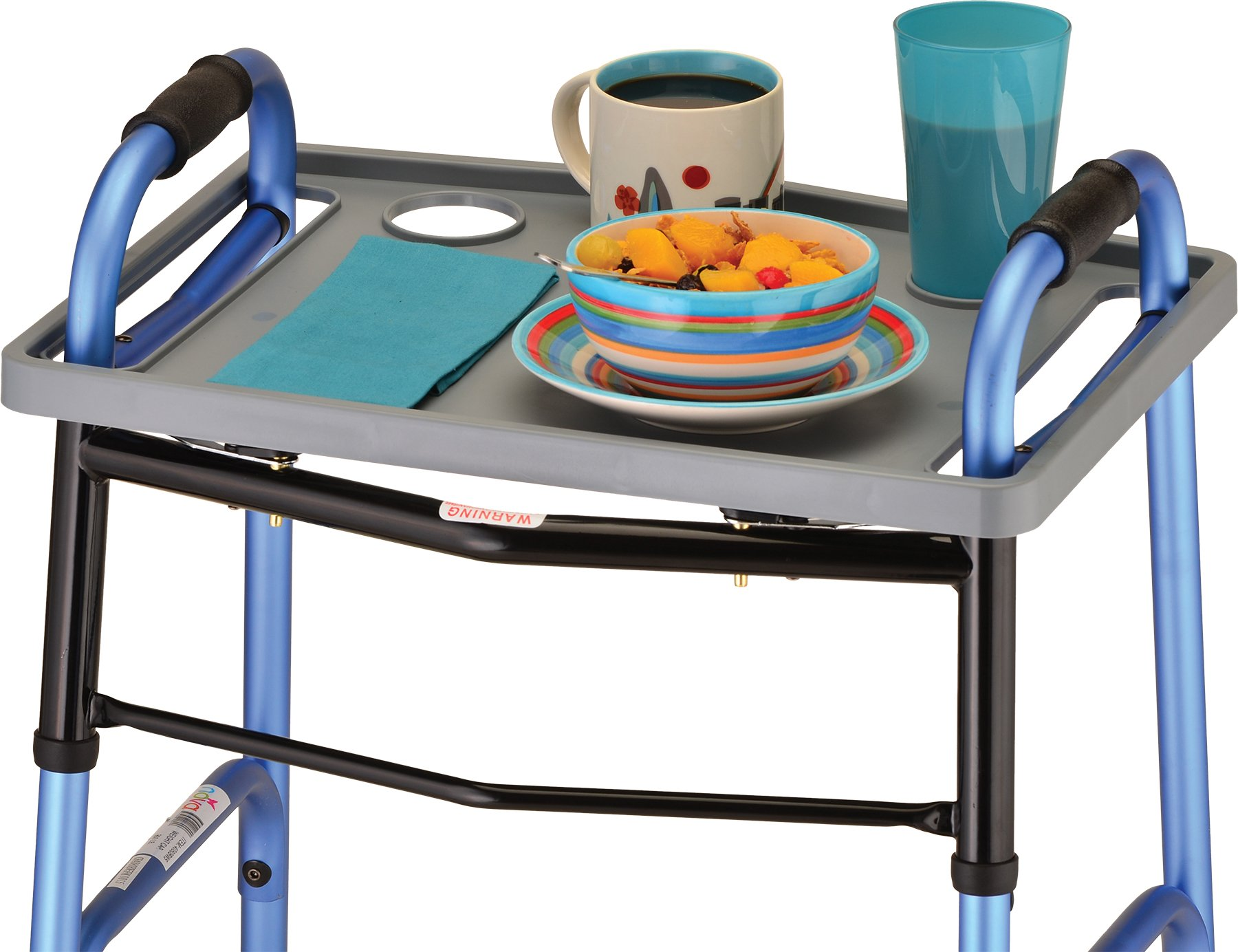 NOVA Walker Tray, Food Tray with 2 Cup Holders for Folding Walker, Universal Fit