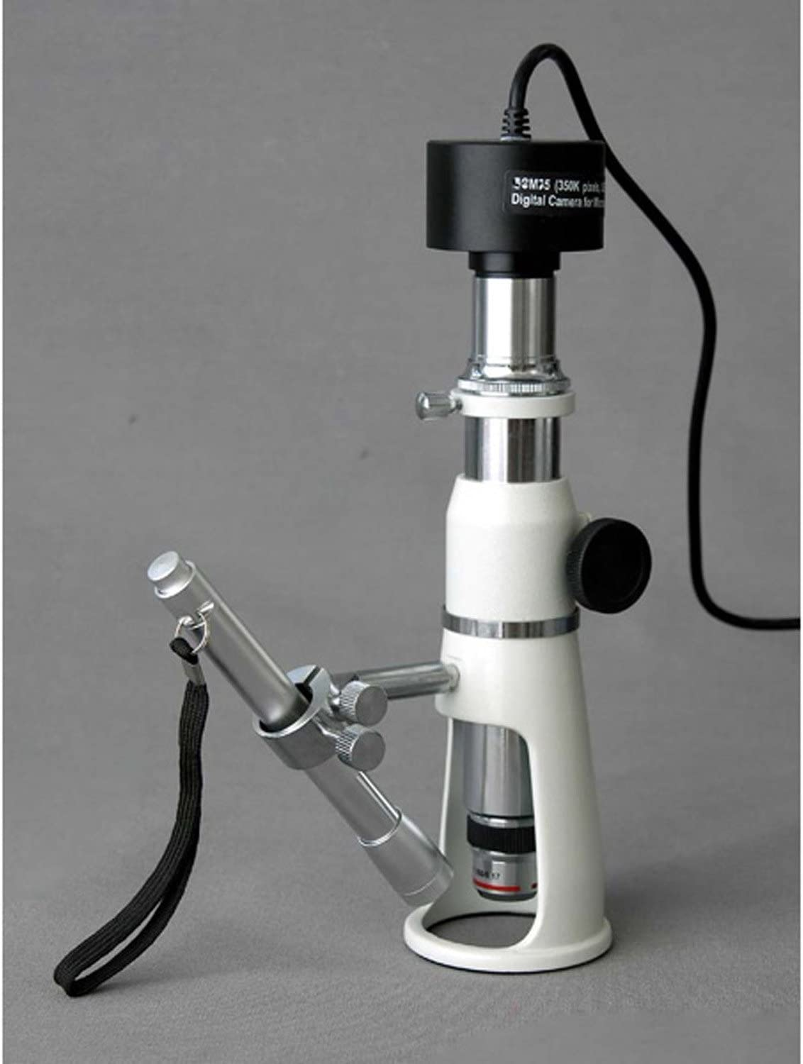 Includes Pen Light 20x and 50x Magnification 17mm Field of View AmScope H250 Handheld Stand Measuring Microscope