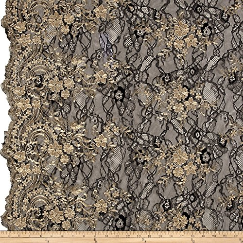TELIO 0556754 Glamour Lace Embroidery Black/Gold Fabric by The Yard ()