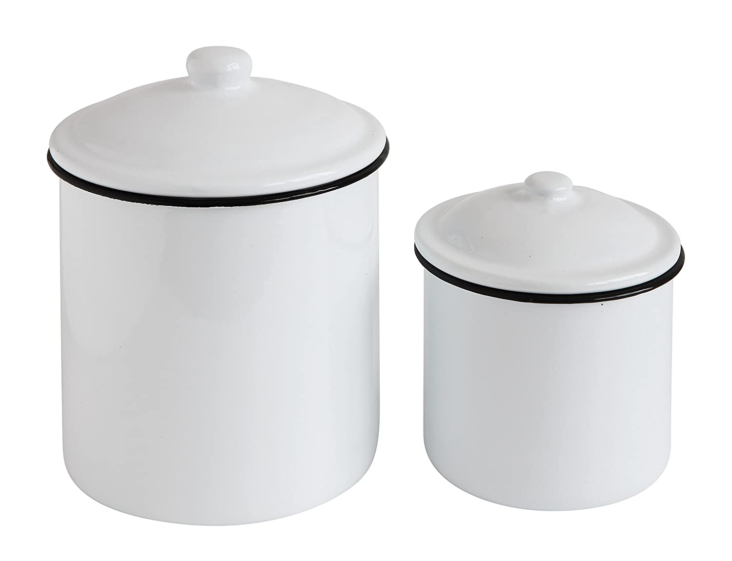 Creative Co-Op DA7600 Set of 2 White Enameled Canisters with Lids