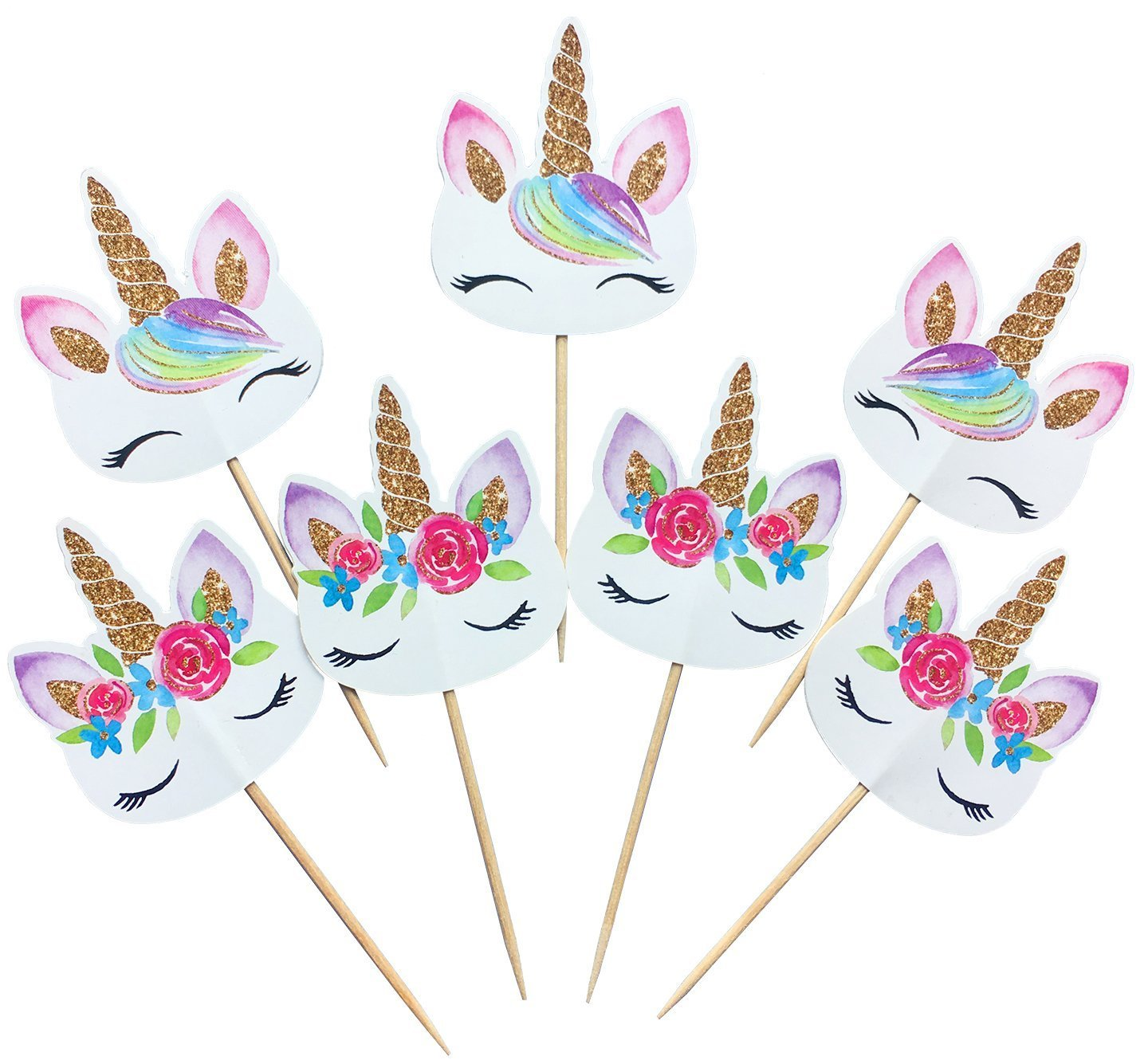 48 Pieces Rainbow Unicorn Cupcake Toppers Double Sided for Birthday Baby Shower Party Decorations Supplies with Two Different Styles VEHIRIN