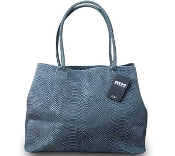 c8bacf5bf48bb Made in Italy Luxus Designer Damen Schultertasche Shopper Bag Echt Leder  Schlangen Prägung Grau