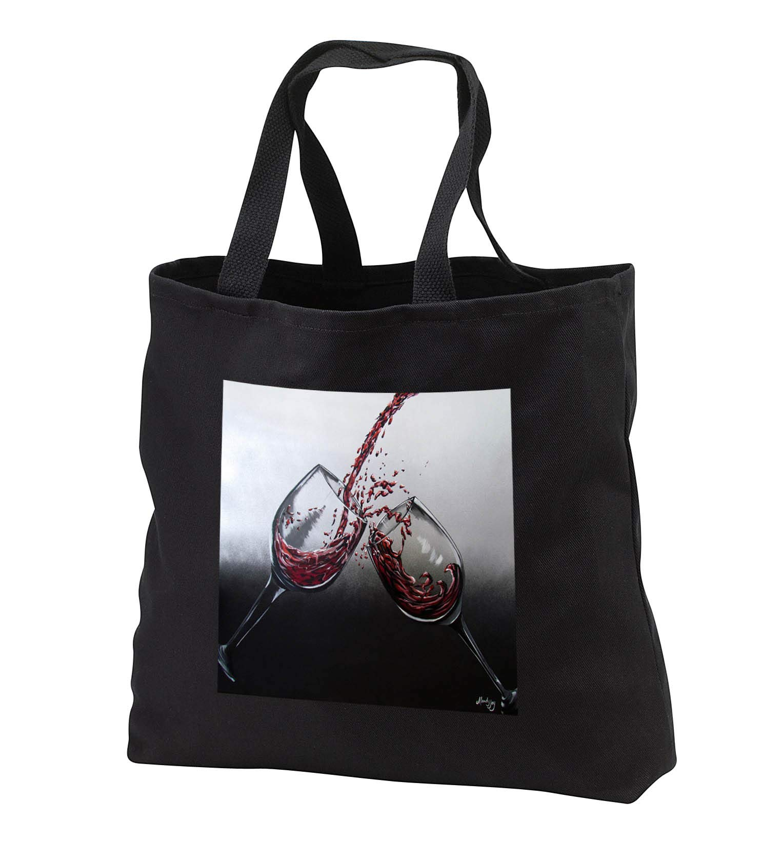 Art By Mandy Joy - Wine, Romance - An image of two glasses of red wine being poured. - Tote Bags - Black Tote Bag 14w x 14h x 3d (tb_294454_1)